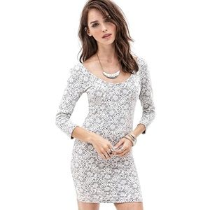 🌙Forever 21 Lace Bodycon Dress White Size Medium